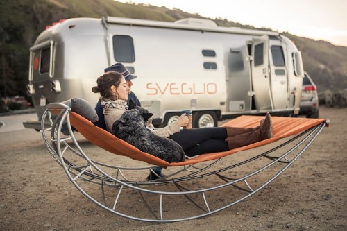 Outdoor Rocking Chair Lets Multiple People Gently Sway Together in Nature