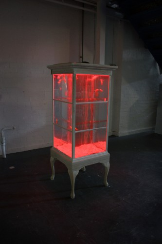 Antique Display Cabinet Transformed Into Glowing Fish Tank