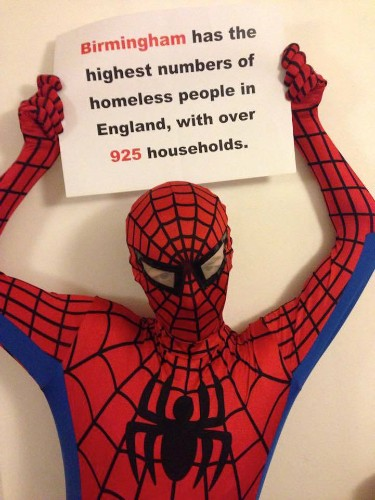Anonymous Man Becomes Spider-Man Every Night to Feed the Homeless in Birmingham