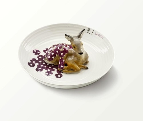 Enchanting Porcelain Animals Sit Serenely in Shallow Bowls