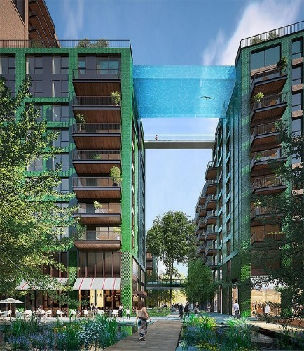Suspended Glass-Bottomed Pool to be a Swimmable Pathway Between Two Buildings