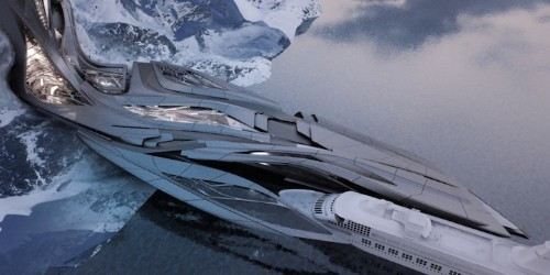 Sprawling Antarctic Port Mimics Jagged Ice Formations Along Frozen Coast