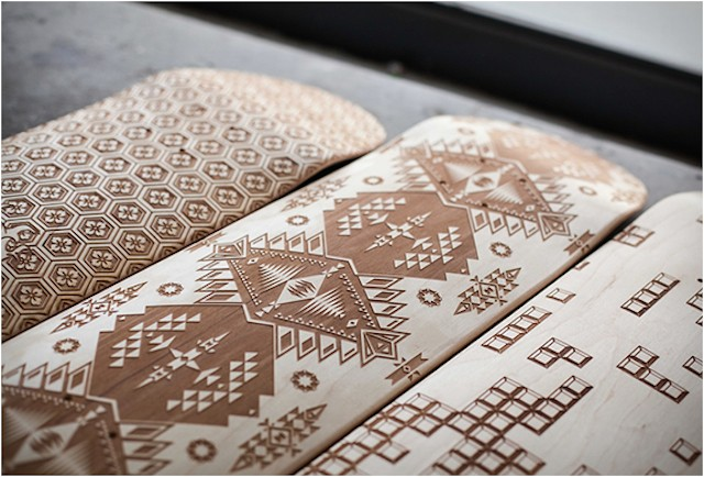Wooden Skate Decks Beautifully Designed by Laser Engraving