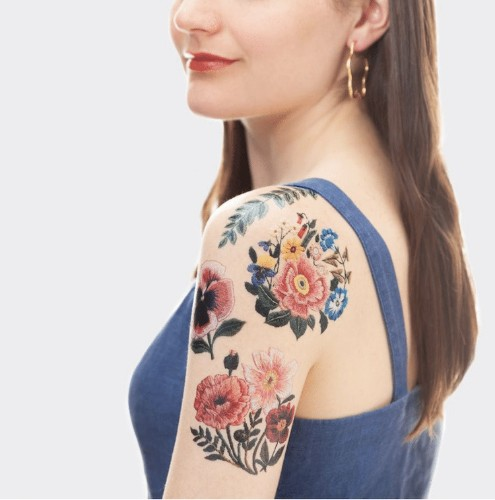 Cover Your Skin in Stitched Flowers With Embroidery Temporary Tattoos