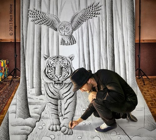New Large-Scale 3D Drawings by Ben Heine