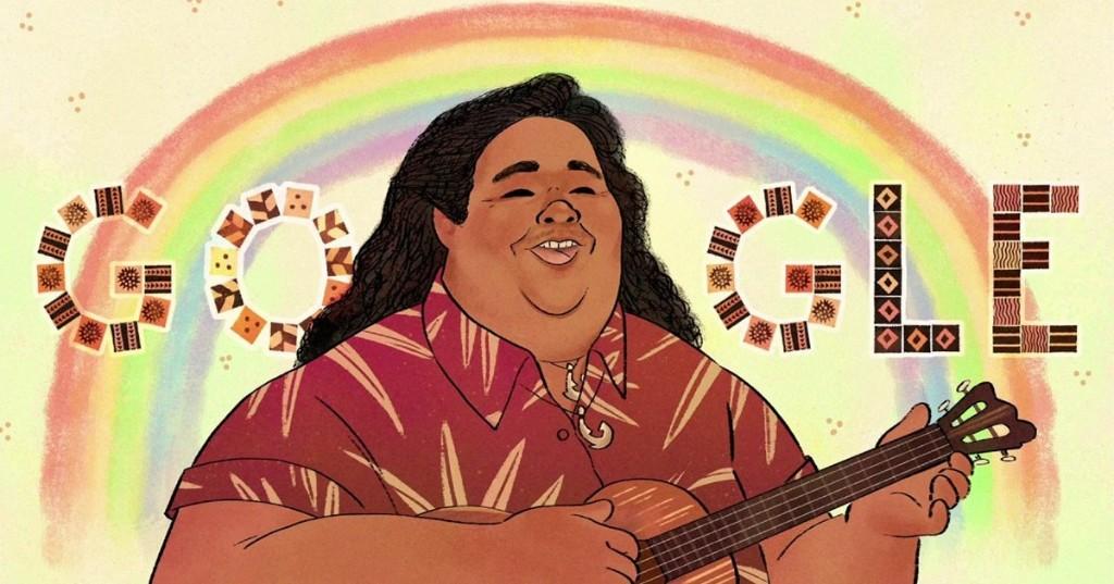 Google celebra el cumpleaños número 61 del cantautor hawaiano Israel Kamakawiwo`ole con un Doodle