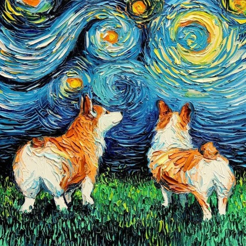 Artist Reimagines Van Gogh's 'Starry Night' with Adorable Dogs