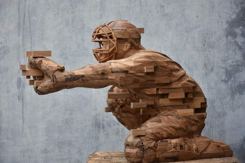 Dynamic Wood Sculptures Carved to Look Like Pixelated Glitches