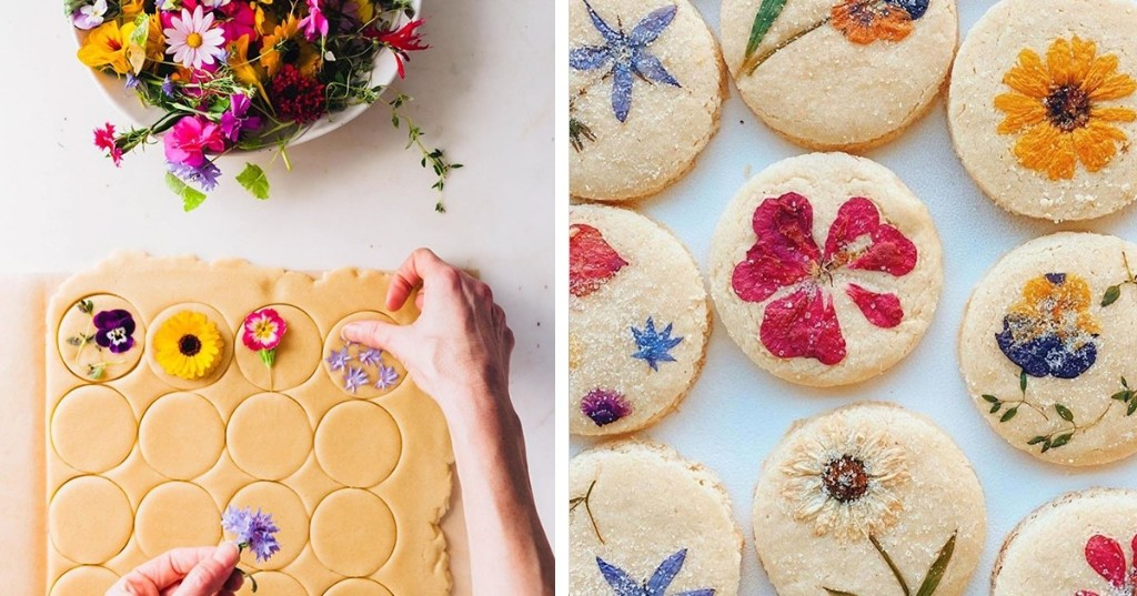 Baker Handpicks Edible Flowers to Create Beautiful Bouquets on Shortbread Cookies