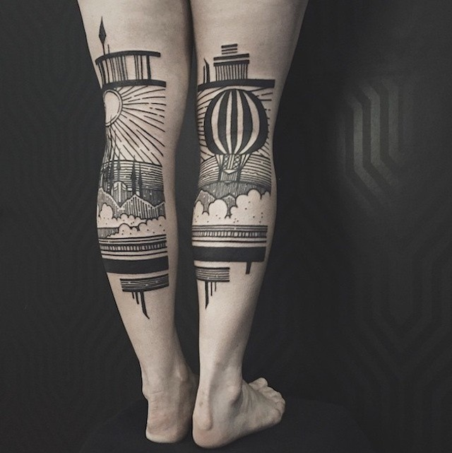 Stunning Diptych Tattoos Form Landscapes Across the Backs of Legs