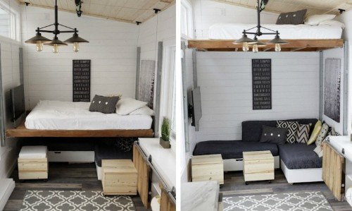 Elevating Bed Turns Tiny Trailer into Modern and Spacious Home