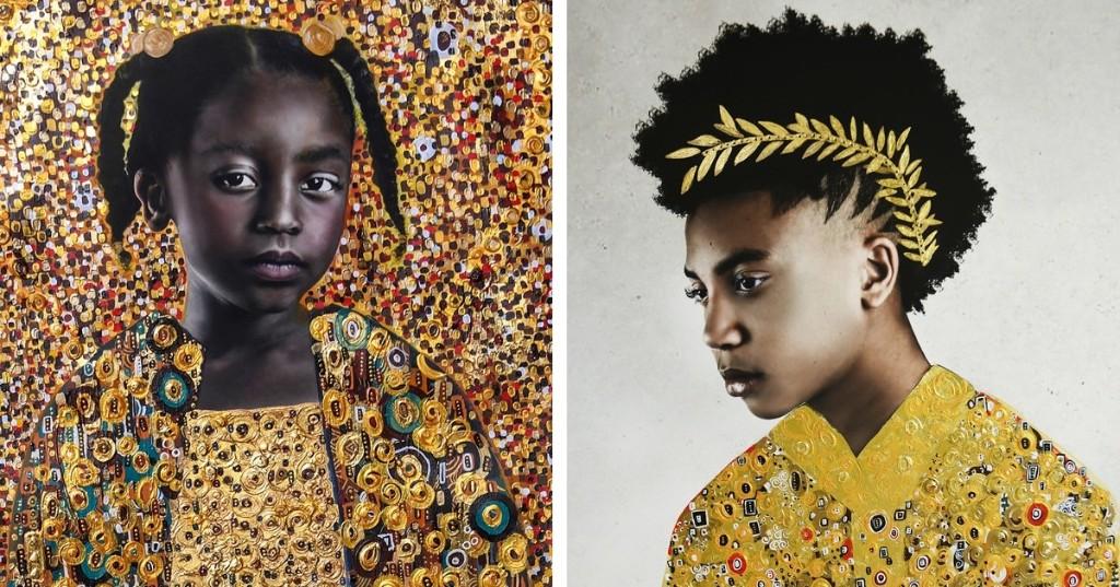 Estos retratos inspirados en la obra de Klimt celebran la belleza de la juventud negra