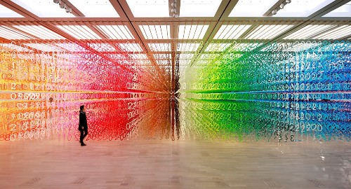 Interactive Rainbow Installation Invites Visitors to Explore a Forest of Numbers