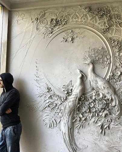 Artist Brings Walls to Life With Impressionist-Inspired Relief Sculptures