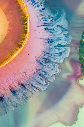 Layered Resin and Paint Blend in Strikingly Psychedelic Paintings