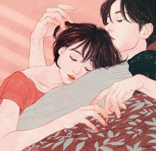 Korean Artist's Illustrations Capture the Intimate Moments of a Couple in Love