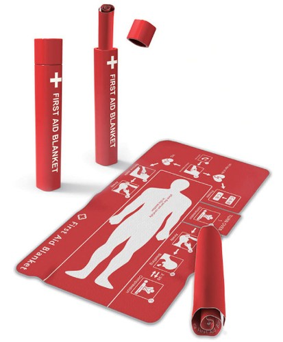 Instructional First Aid Blanket Designed to Help Anyone Save a Person's Life
