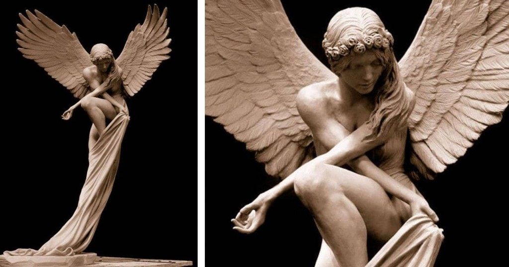 Ethereal Angel Sculpture Appears to Effortlessly Float Above the Ground