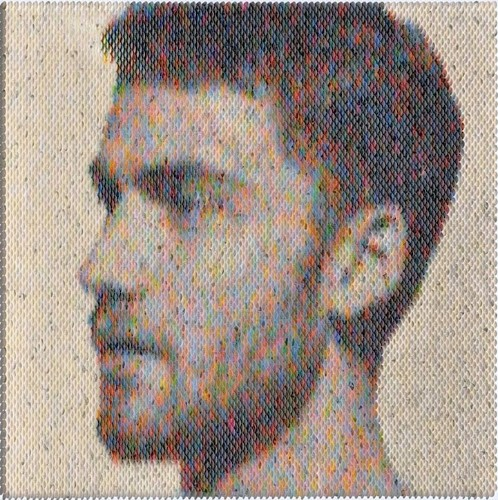 Amazing Pixelated Portraits Made Out of Carefully Arranged Paint Swatches