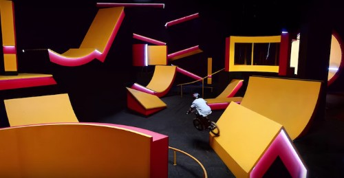 BMX Rider Performs Tricks Through Incredible Optical Illusions and Shape-Shifting Course