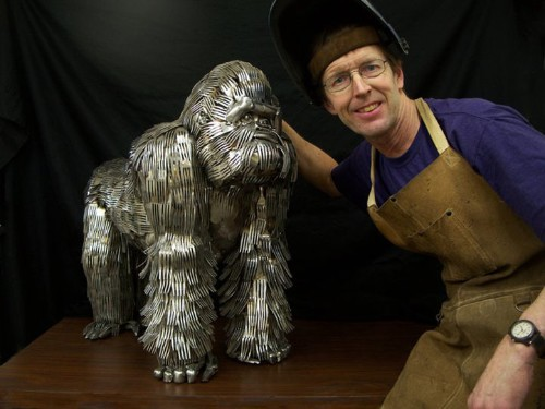 Amazing Animal Sculptures Created with Welded Flatware