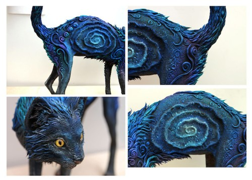 Galaxy Cat Sculpture Features Brilliant Color and Fantastical Patterns