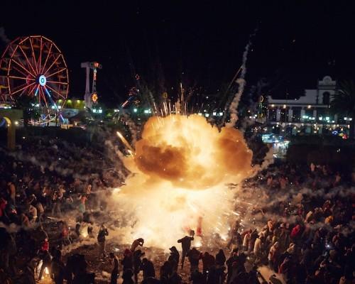 Festival of Dazzling Fireworks Explode Around Spectators