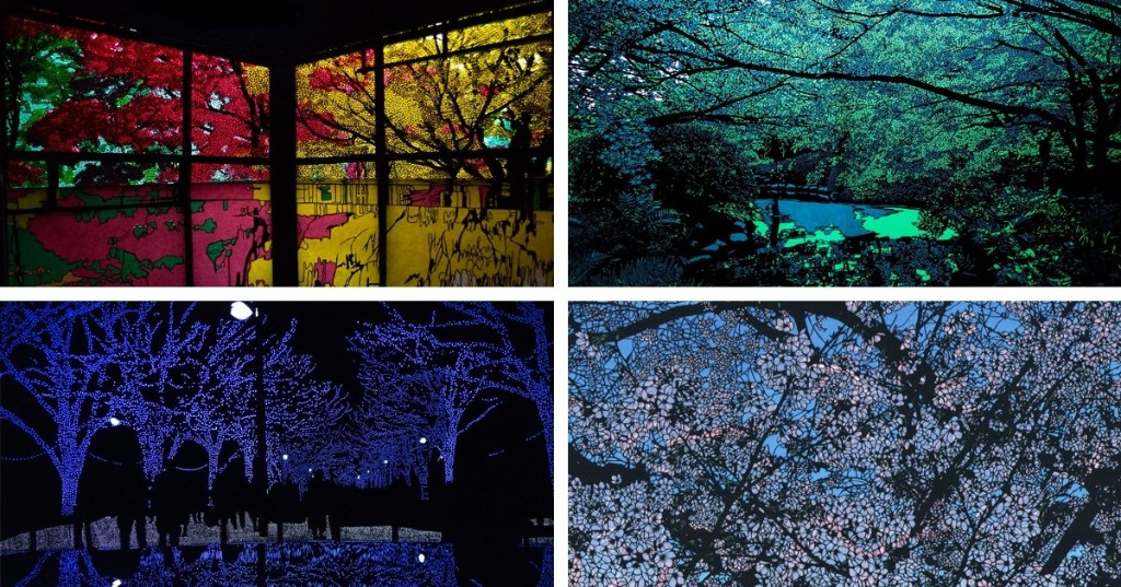 Japanese Artist Brilliantly Cuts Black Paper Against Colored Lights to Look Like Gorgeous Scenes in Nature