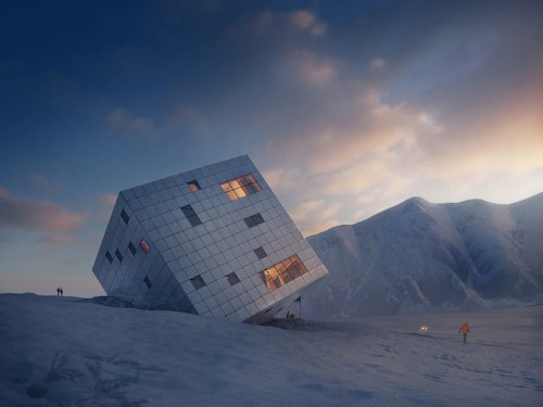 Cubed Slovakian Lodge Stands on a Corner in the High Tatra Mountains