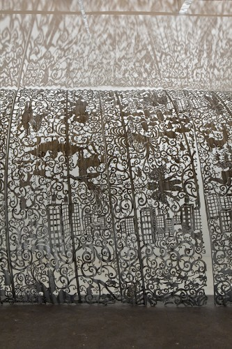 Delicate Lace Patterns Intricately Cut from Industrial Metal Surfaces
