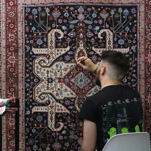 Artist Skillfully Details Paintings to Look Like Real Ornate Rugs