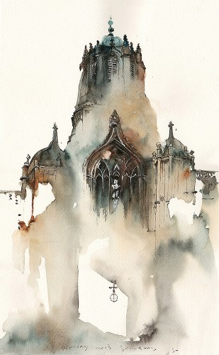 Gorgeous Fragmented Watercolors Form Soothing Cityscapes
