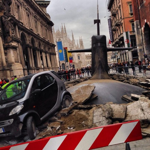 Giant Submarine Crashes Through Streets of Milan