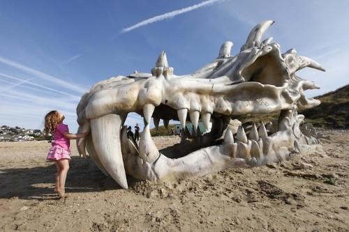 Giant Dragon Skull Appears on Charmouth Beach