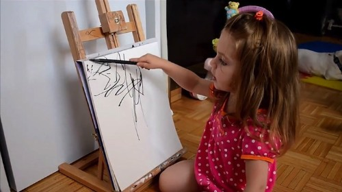 Artist Transforms 2-Year-Old Daughter's Sketches Into Detailed Paintings
