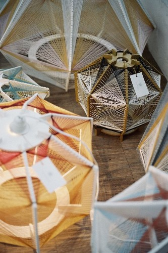Sputnik Lamps Meticulously Covered with a Complex Web