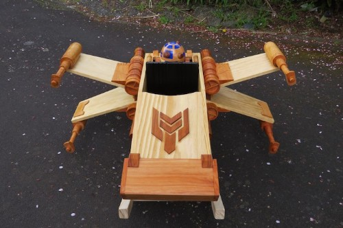 Wooden Ride-On Rocker Toy Modeled After a Star Wars Starfighter