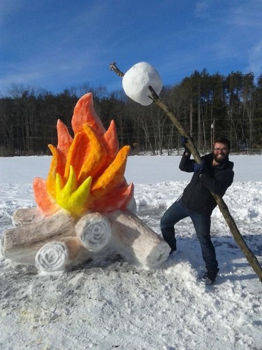 Man Toasts Giant Marshmallow Over Fire Made Entirely of Snow