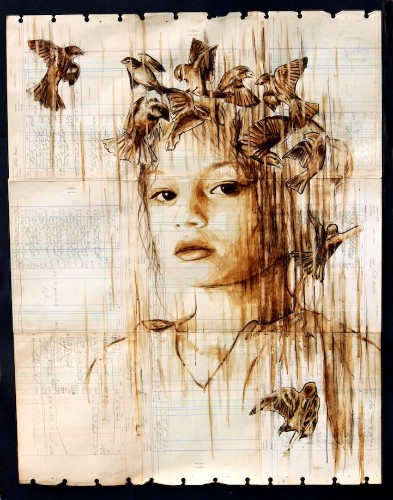 Beautiful Coffee and Ink Portraits on 100-Year-Old Paper