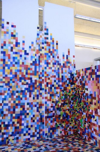 Artist Uses Paint Swatches to Create a Colorfully Pixelated Space