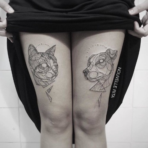 Artistic Animal Tattoos Made with Exquisitely Bold Contour Lines