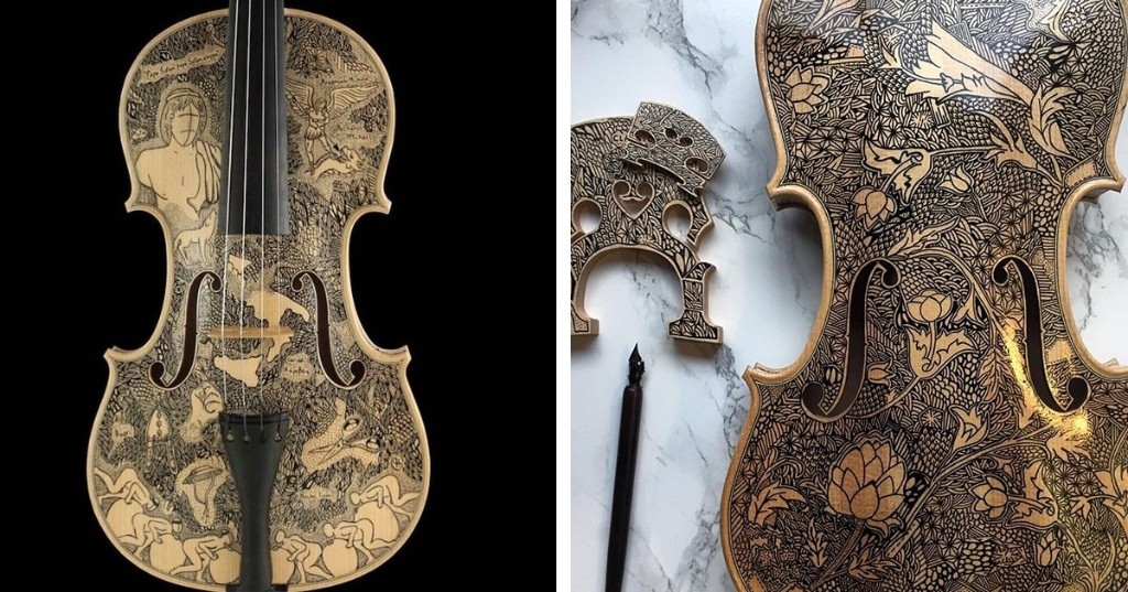 Ornate Ink Drawings Transform String Instruments Into Unconventional Storybooks