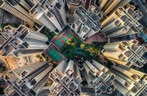 Spectacular Drone Photos Capture the Densely Packed 'Walled City' in Hong Kong