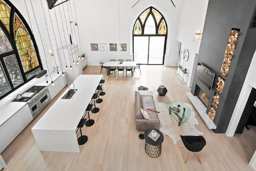 Giant Stained Glass Window Church is Converted into a Modern Family Home