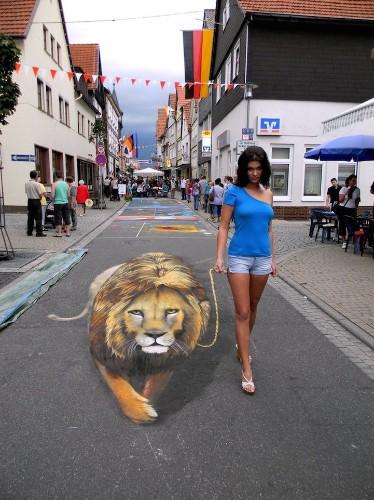 3D Sidewalk Murals Invite Pedestrians to Interact with the Illusive Art