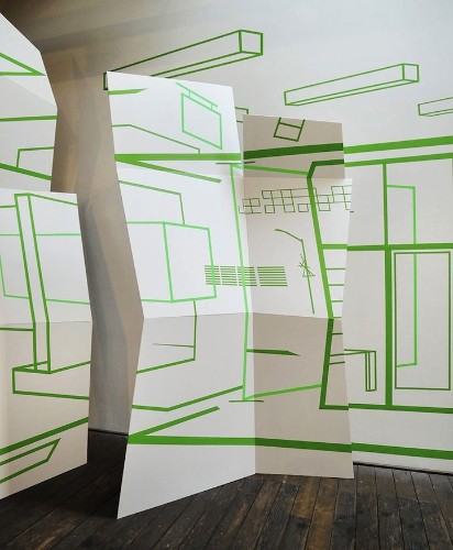 Mind-Boggling Illusions of Space Created with Colorful Tape