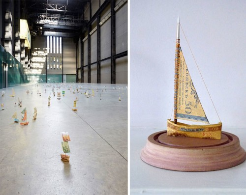 Fleet of Ships Made of Currency from All Around the World