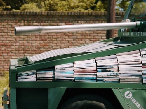 Weapon of Mass Instruction: Artist Unveils Tank-Shaped Bookmobile to Promote Reading