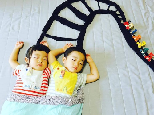 Mom Creates Fun Scenes Around Her Napping Twins, Whatever Position They Fall Asleep In