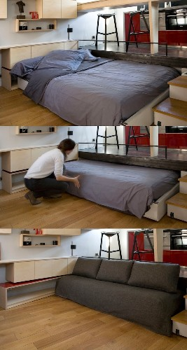 Innovative Disappearing Bed Design Expands Living Space